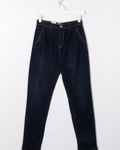Niebieskie mom jeans bawełniane Levis Kids