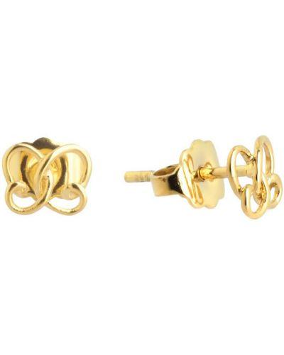 Серьги-гвоздики позолоченные золотые Nina Ricci