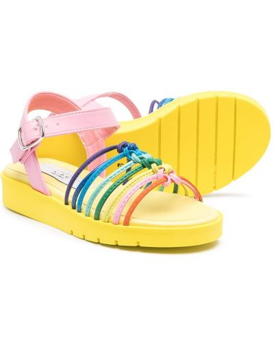 Открытые желтые сандалии на плоской подошве Stella Mccartney Kids