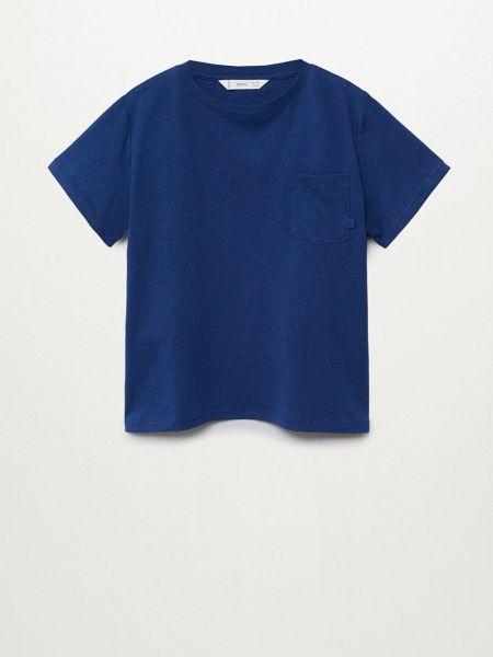 Хлопковая футболка - голубая Mango Kids