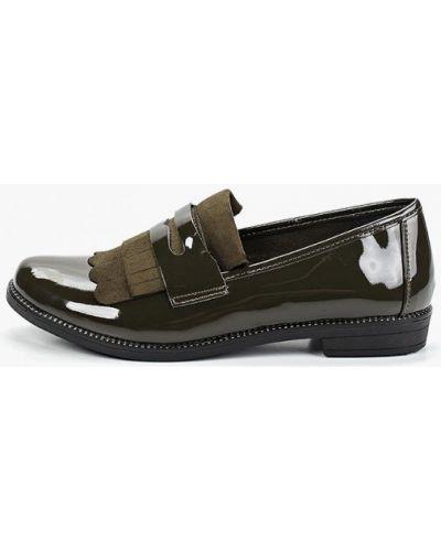 Лоферы на каблуке зеленый Vh