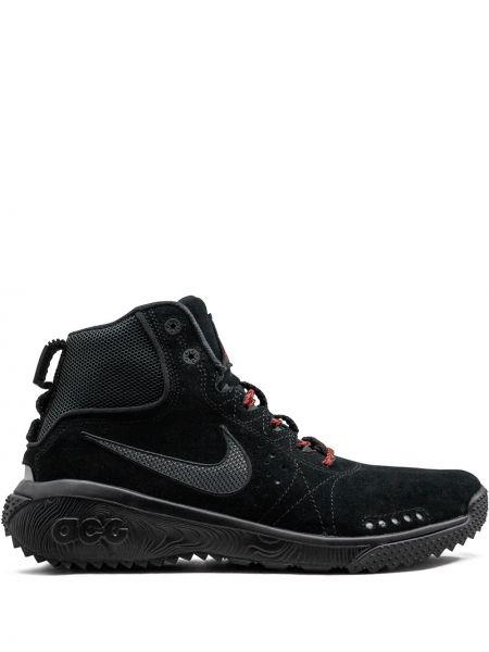 Высокие кроссовки черные замшевые Nike