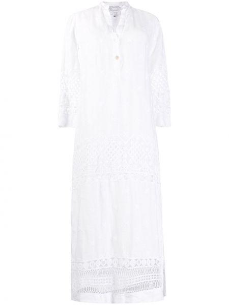 Белое ажурное платье миди с вышивкой на пуговицах Temptation Positano