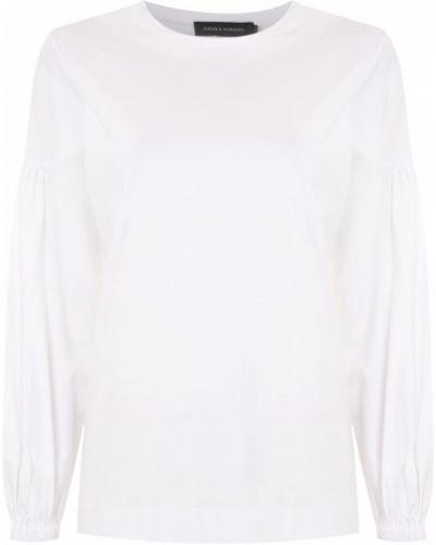 Хлопковая белая футболка с вырезом Andrea Marques