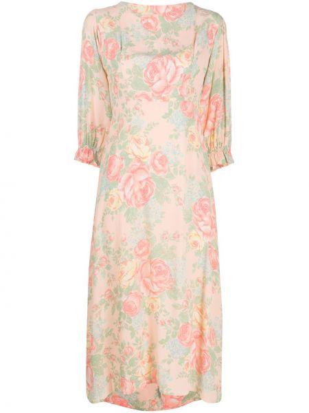 Розовое платье миди с вырезом трапеция из вискозы Faithfull The Brand