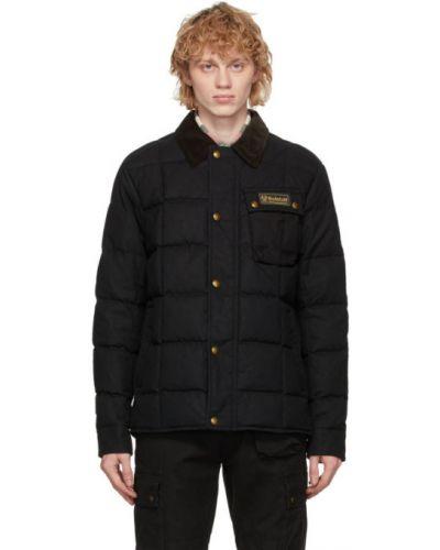Puchaty czarny pikowana kurtka z mankietami z kołnierzem Belstaff