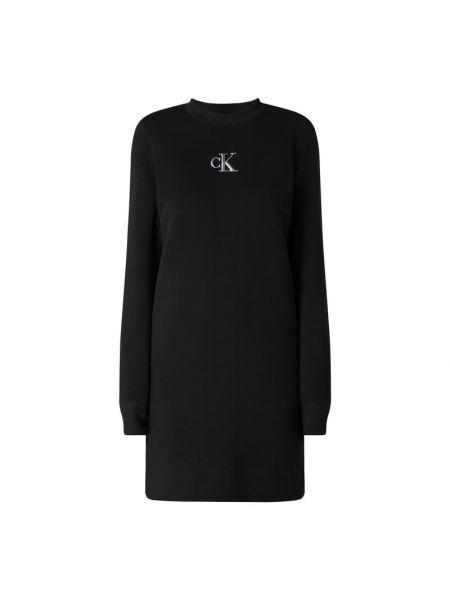 Bawełna czarny dżinsowa sukienka z dekoltem z długimi rękawami Calvin Klein Jeans