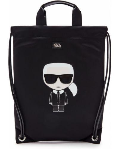 Кожаный рюкзак с рисунком черный Karl Lagerfeld