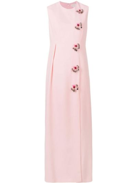 Różowa sukienka długa z jedwabiu bez rękawów Delpozo