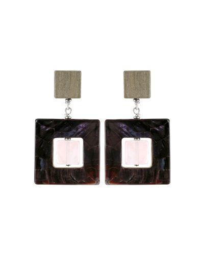 Черные серьги с камнями Nature Bijoux