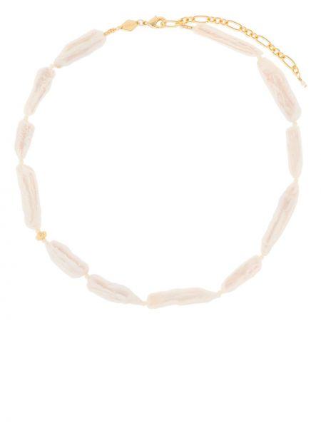 Biały naszyjnik z perłami pozłacany z perłami Anni Lu