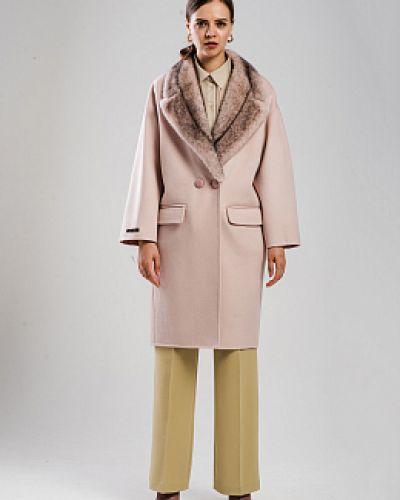 Розовое шерстяное пальто с воротником Alcato