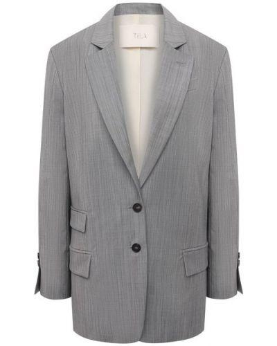 Шерстяной пиджак - серый Tela