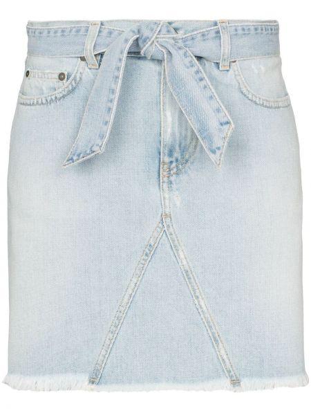 Синяя классическая с завышенной талией юбка мини с поясом Givenchy