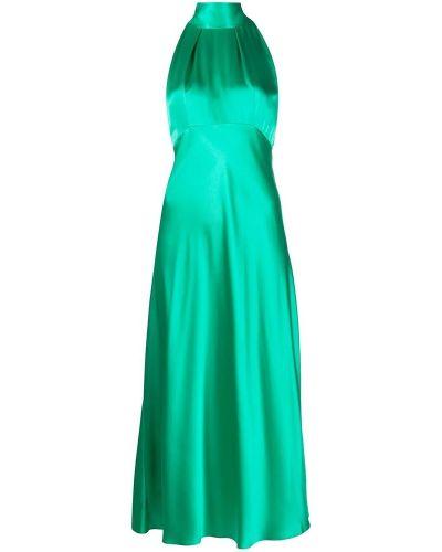 Zielona sukienka na co dzień z jedwabiu Saloni