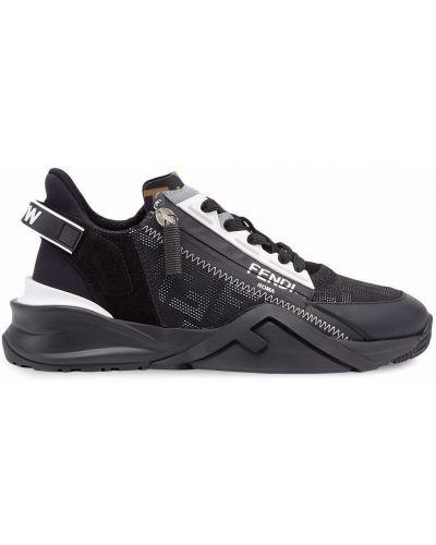 Кожаные кроссовки - черные Fendi
