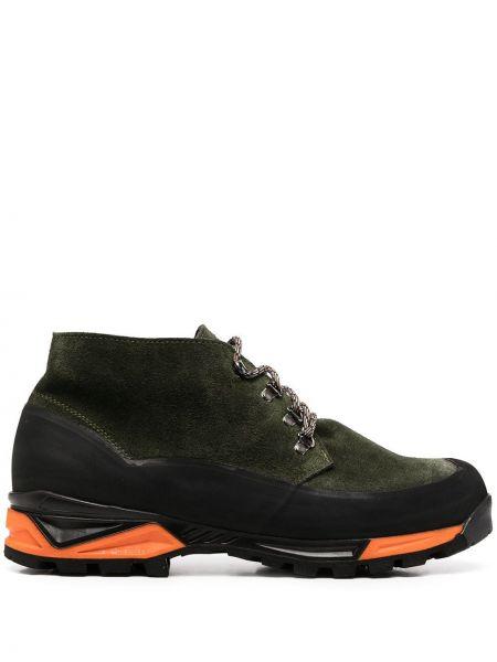 Кожаные зеленые ботинки на шнуровке со вставками Diemme