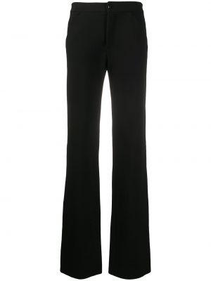Черные расклешенные брюки с высокой посадкой из вискозы Versace Pre-owned