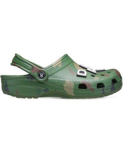 Zielony klasyczny sandały na pięcie perforowany Crocs