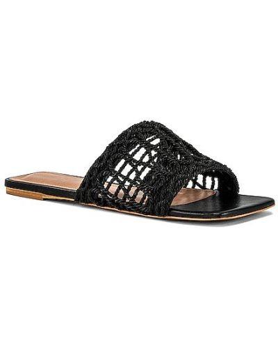 Czarne sandały skórzane na obcasie Raye