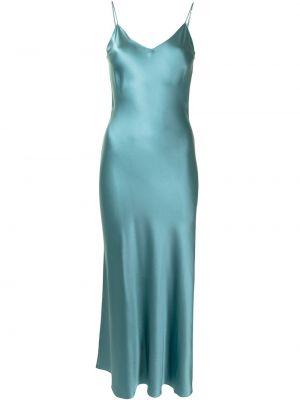 Zielona sukienka długa z jedwabiu bez rękawów Dannijo