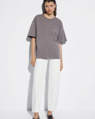 Серая футболка с короткими рукавами Massimo Dutti