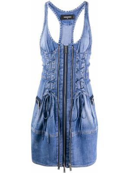Платье мини джинсовое на молнии Dsquared2