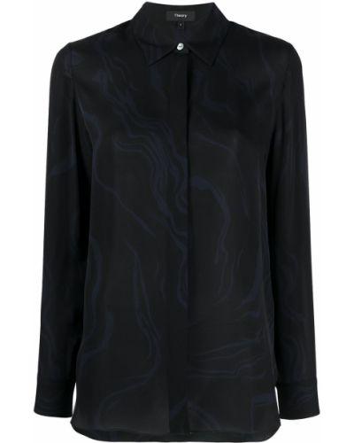 Шелковая с рукавами черная классическая рубашка Theory