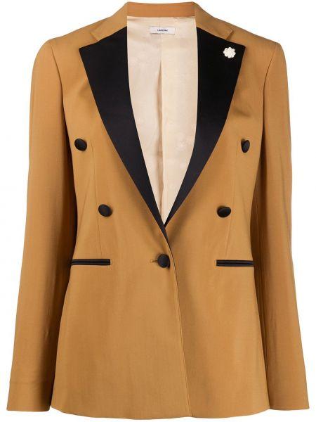 Приталенный пиджак двубортный с карманами Lardini