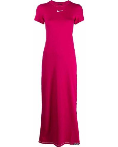 Хлопковое розовое платье макси с короткими рукавами Nike
