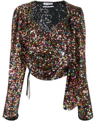 Блузка с длинным рукавом с пайетками в полоску Attico