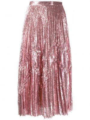 Расклешенная розовая юбка миди с пайетками в рубчик Marco De Vincenzo
