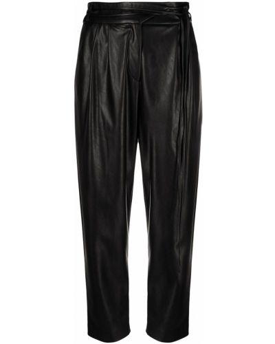 Зауженные кожаные черные брюки Pinko