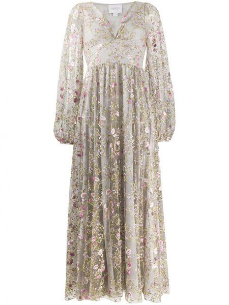 Шелковое серое платье с вышивкой с V-образным вырезом Giambattista Valli