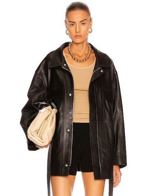 Черная кожаная куртка на молнии Nour Hammour