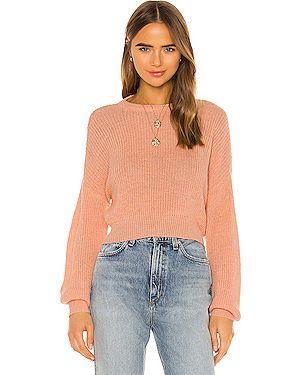 Персиковый акриловый свитер в рубчик с декоративной отделкой Cupcakes And Cashmere