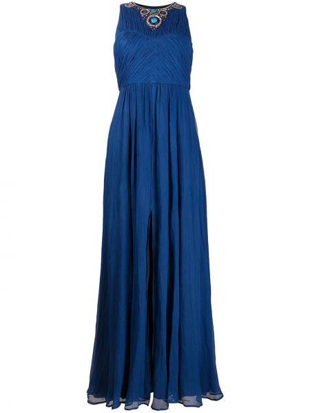 Шелковое синее вечернее платье без рукавов Matthew Williamson
