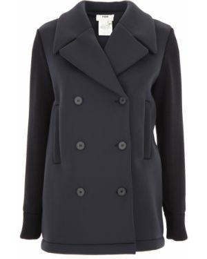 Czarny płaszcz zapinane na guziki z długimi rękawami Fuzzi