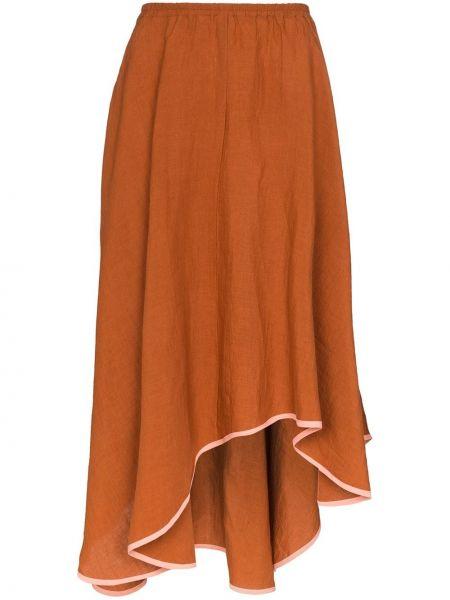 Асимметричная с завышенной талией юбка миди в рубчик с поясом Araks