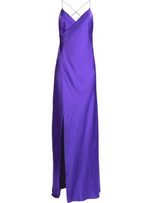 Открытое фиолетовое сатиновое платье макси с открытой спиной Michelle Mason