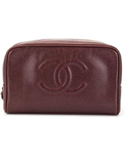 Torba kosmetyczna skórzany z logo Chanel Pre-owned