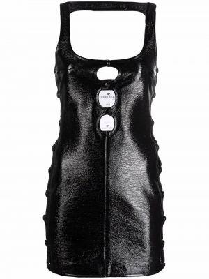 Платье мини с открытой спиной - черное Courrèges