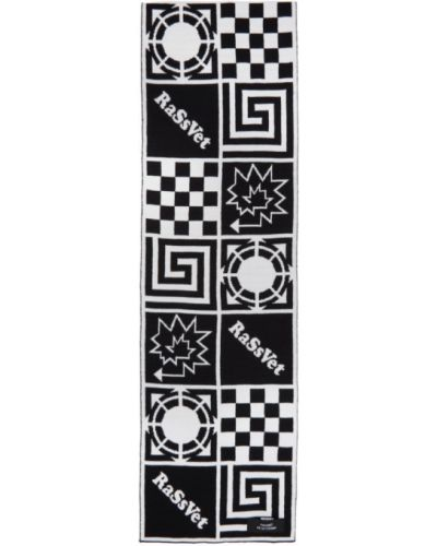 Шерстяной белый шарф прямоугольный с заплатками Rassvet