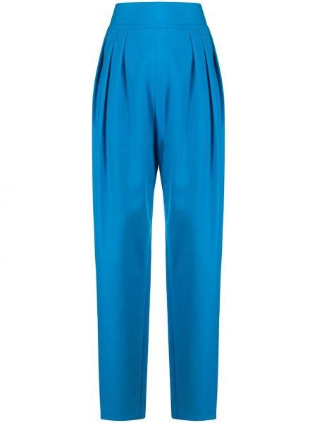 Niebieskie spodnie z wysokim stanem bawełniane Attico