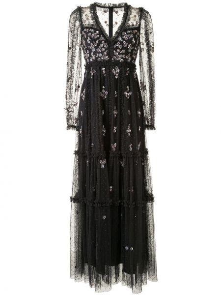Платье из фатина с пайетками с V-образным вырезом на молнии Needle & Thread
