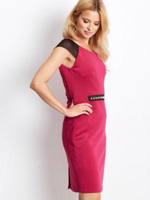 Różowa sukienka wieczorowa sylwestrowa z paskiem Fashionhunters