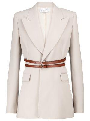 Ватный белый кожаный пиджак Gabriela Hearst