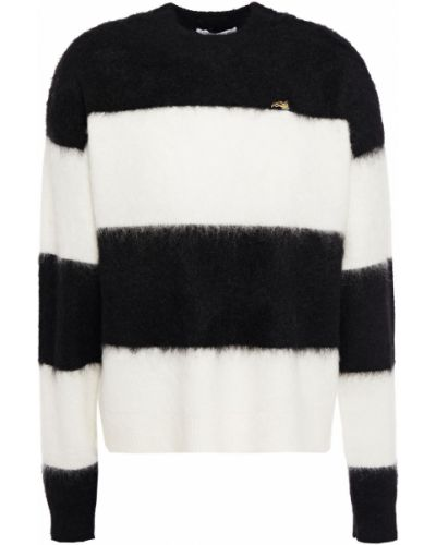 Шерстяной белый свитер в полоску Bella Freud