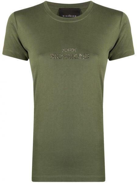 Хлопковая зеленая футболка с вырезом John Richmond