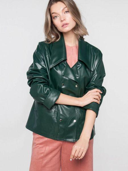 Кожаная куртка весенняя зеленая Лимонти